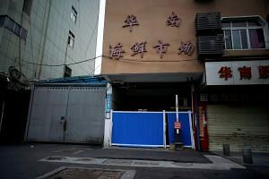 The closed Huanan seafood market in Wuhan, where many of the first coronavirus cases were discovered.
