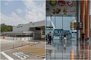 Sembawang Camp (left) and Changi Airport Terminal 3.