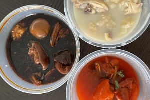 For soups and stews, one stall in Chinatown comes to mind - Chef Sham H.K. Vinegar Trotters, Fish Maw Pig Stomach Chicken.