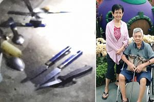 The elderly couple were found motionless in two different rooms in their Bedok flat, and police later seized three knives.