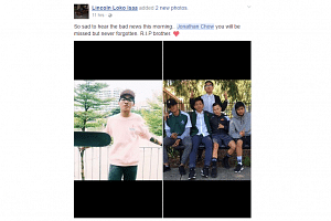 """Friends of Jonathan Chow Hua Guang paid tribute on social media to the 17-year-old, calling him """"a great kid"""" and """"an amazing person""""."""