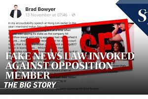 Fake news law invoked against opposition member | THE BIG STORY | The Straits Times