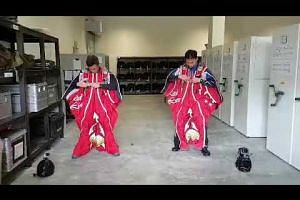 Red Lions donning their new wing suits