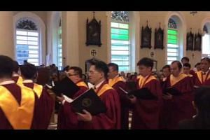 Choir members entering the Cathedral of the Good Shepherd