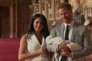 Prince Harry and Duchess of Sussex Meghan Markle show off baby son