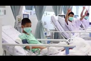 Thai cave rescue: Boys waving from their hospital beds