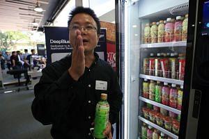 DeepBlue Technology's business development manager Mao Xing explains palm recognition technology