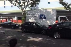 Eight-car accident along Simei Ave on Tuesday morning