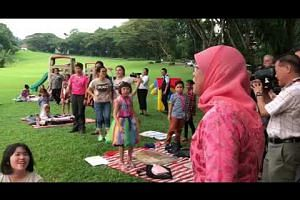 President Halimah Yacob meets children from the Dyslexia Association of Singapore for a picnic