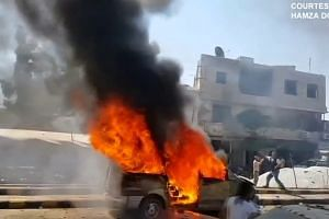 Aftermath of car bomb explosion in north Syrian town of Azaz