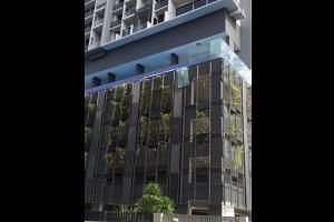 A glass panel falls from the swimming pool on the fith floor of a Whampoa condominium