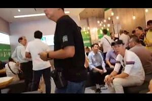 A huge crowd at the Grab office in Sin Ming as news of the discount spreads
