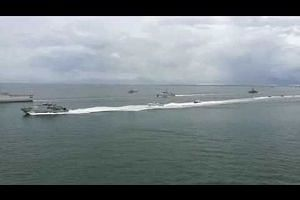 A sailpast for the Trilateral Maritime Patrol launched by Indonesia, Malaysia and the Philippines