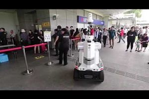 An autonomous robot being tested during a emergency preparedness exercise