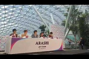 J-pop boyband Arashi greet fans during their first official visit to Singapore