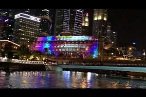 Preview of light projection on Fullerton Hotel facade for Marina Bay countdown