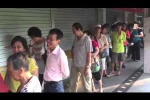 Video of queue at POSB Tampines Central branch