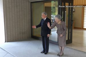 PM Lee and Mrs Lee taking their leave of the Emperor and Empress of Japan