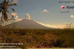 Mount Agung erupting several times