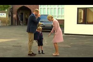 Britain's Prince George has his first day of school