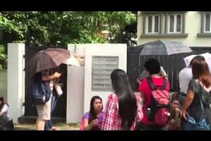 Voters waiting to cast ballots at Myanmar Embassy