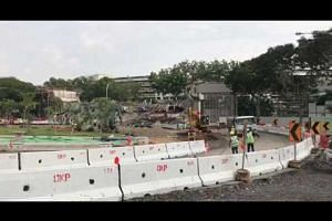 Excavation work for temporary bypass road for traffic heading towards PIE (Changi Airport)