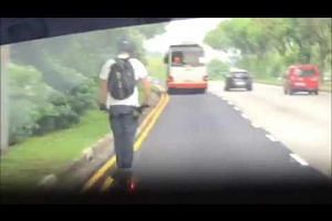 Man on electric scooter caught on video overtaking bus at 70kmh in Mandai