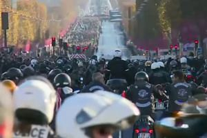 Motorbikes accompany Johnny Hallyday funeral cortege down Champs Elysees