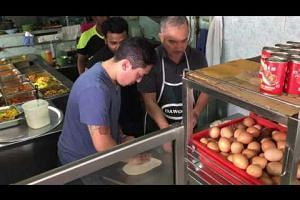 Cesar Milan and his son Andre flipping prata