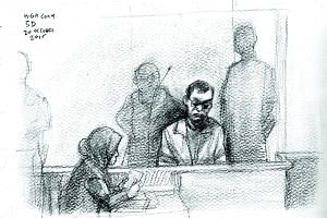 A depiction of Iskandar Rahmat on trial yesterday for the gruesome Kovan double murder of two years ago, drawn by The Straits Times' Miel.