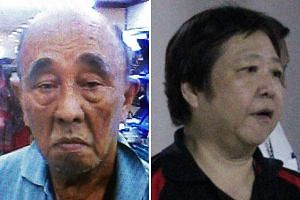Retiree William Wong (top) had dinner with his wife Winnie Teo (above) before returning to their flat, where he was later found dead. Investigators outside Madam Winnie Teo's flat in Yishun Ring Road. Pools of blood were seen at the entrance, and the