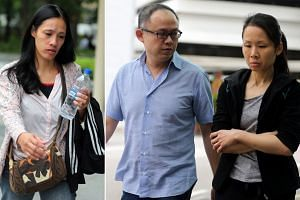 Madam Thelma Oyasan Gawidan (far left), whose weight dropped from 49kg to 29kg in 15 months, said she had no way of buying food as her employers (left), trader Lim Choon Hong and his wife Chong Sui Foon, kept her salary from her, claiming they were s