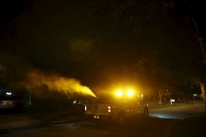 Mosquito control spraying being conducted on Tuesday in Hillsborough county, Florida. With no specific federal guideline yet in place to control the spread of the Zika virus in the United States, some mosquito-heavy states like Florida are stepping u