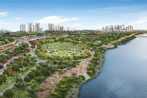 An artist's impression of the revamped Woodlands Waterfront, which will have more landscaping and pockets of greenery. Residents in Woodlands Central will get a new town plaza, a