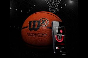 Hit the hoop with the Wilson X Connected basketball, and hit the ground too or the shot won't be counted.