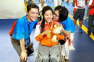 Top: Singapore para-swimming stars Theresa Goh (left) and Yip Pin Xiu at the Games Village in Rio. They are close friends both in and away from the water. Goh is a four-time Paralympian whose perseverance finally paid off when she won a bronze in the