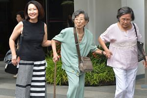 From left: Ms Linda Tan, who lives in a corner terrace house several units away from Madam Chung's bungalow; Madam Chang Phie Chin, an old family friend of Madam Chung and her husband, and who introduced Yang Yin to them in 2006; and a friend known o