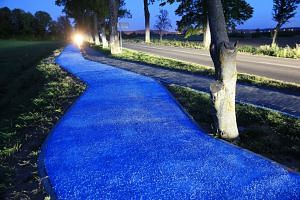Left: A bicycle path near the town of Lidzbark Warminski, north-east Poland, glowing blue in the dark thanks to luminophores that charge in the sun. It can glow for up to 10 hours. Right: Tiny luminous fragments embedded in a glow-in-the-dark bike pa