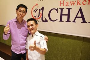 Mr Chan Hon Meng is partnering Hersing Culinary, whose chairman is Mr Harry Chua (far left), to open quick-service restaurant Hawker Chan in Chinatown next month.