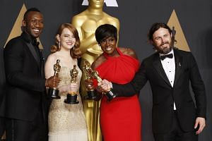 Acting award winners (from far left) Mahershala Ali, Emma Stone, Viola Davis and Casey Affleck.