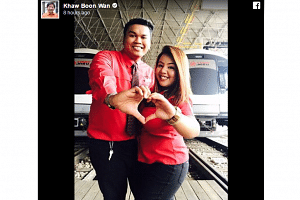 Transport Minister Khaw Boon Wan highlighted the love story of two SMRT train captains in his V-Day tribute.
