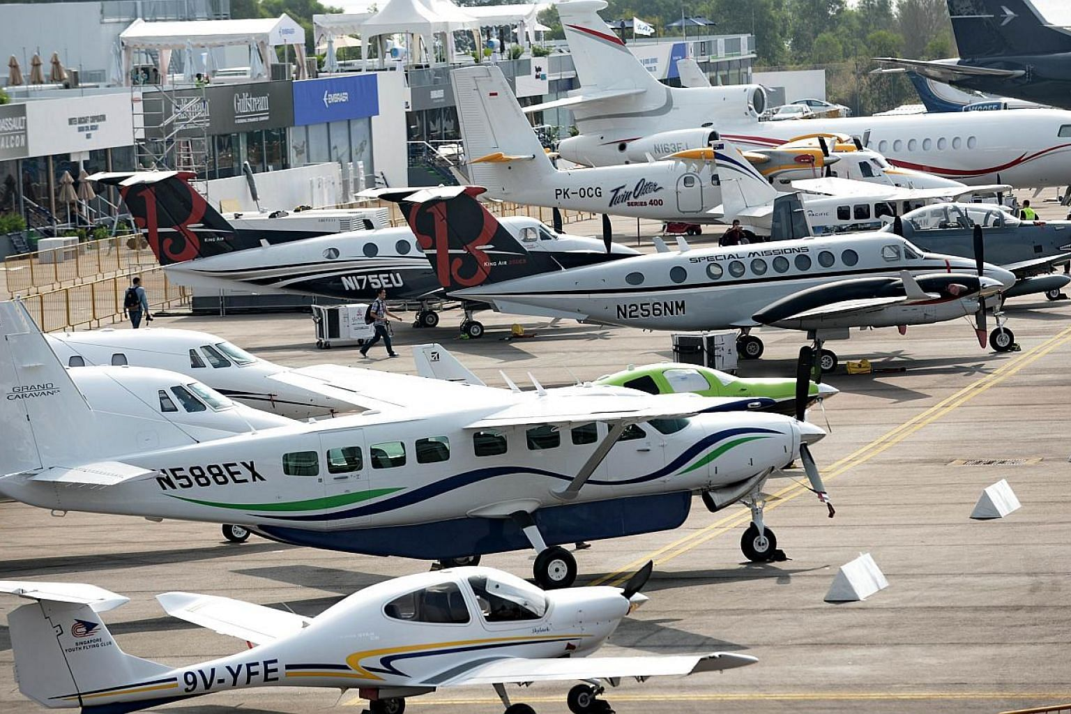 A static display of private aircraft at the Changi Exhibition Centre ahead of the Singapore Airshow, which opens tomorrow. About 90 aircraft, including the Airbus 350 and Boeing 787 Dreamliner, will be on display.