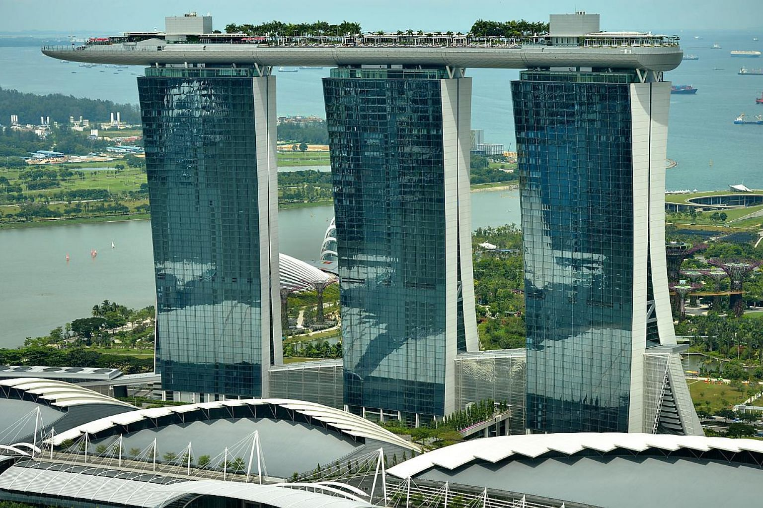 The Marina Bay Sands (MBS) hotel resort seen from the Ocean Financial Centre. Shark's fin dishes will no longer be served at restaurants owned and operated by Marina Bay Sands (MBS), the integrated resort announced on Wednesday. -- PHOTO: ST FIL
