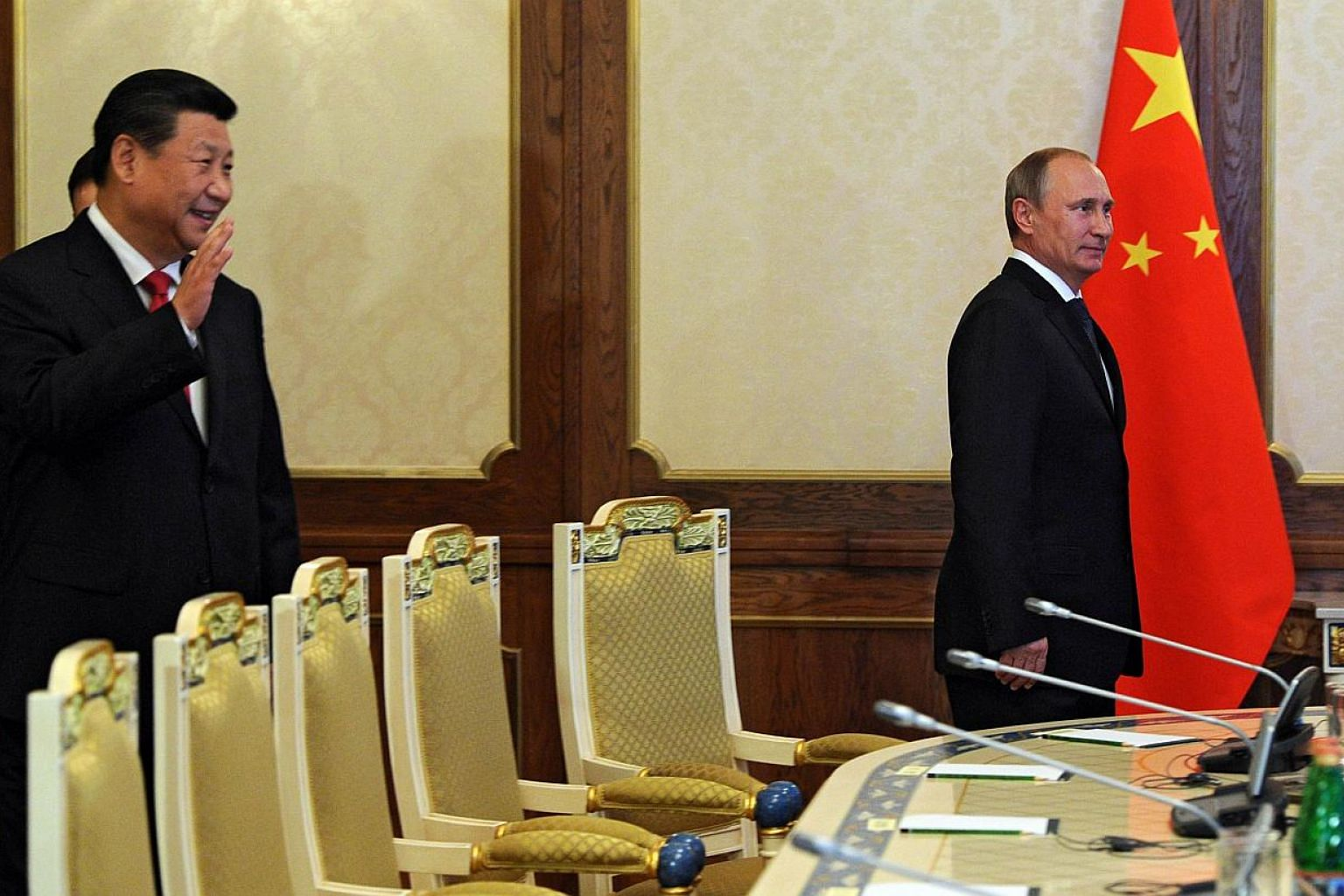 Chinese President Xi Jinping and his Russian counterpart Vladimir Putin at the recent Shanghai Cooperation Organisation summit in Tajikistan. Beijing is keen to consolidate its influence in Central Asia and strengthen its strategic partnership with n