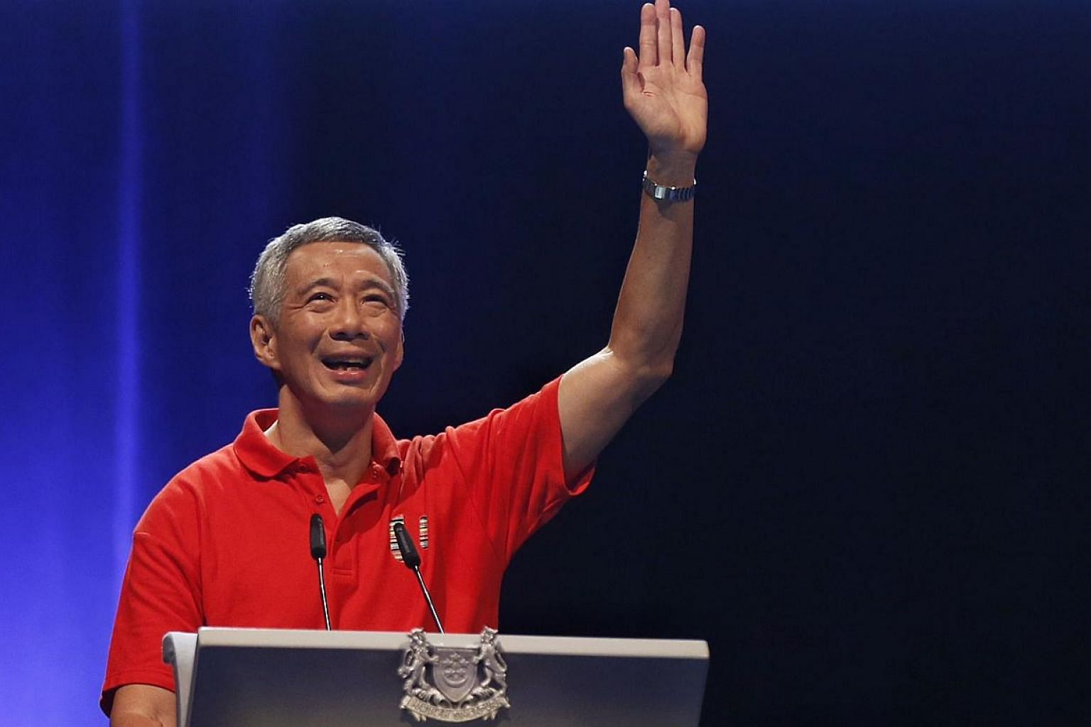 Prime Minister Lee Hsien Loong addressing some 4,000 union leaders, key representatives from the Labour Movement and tripartite partners at the National Trades Union Congress (NTUC) May Day Rally on May 1, 2015.-- PHOTO: KEVIN LIM