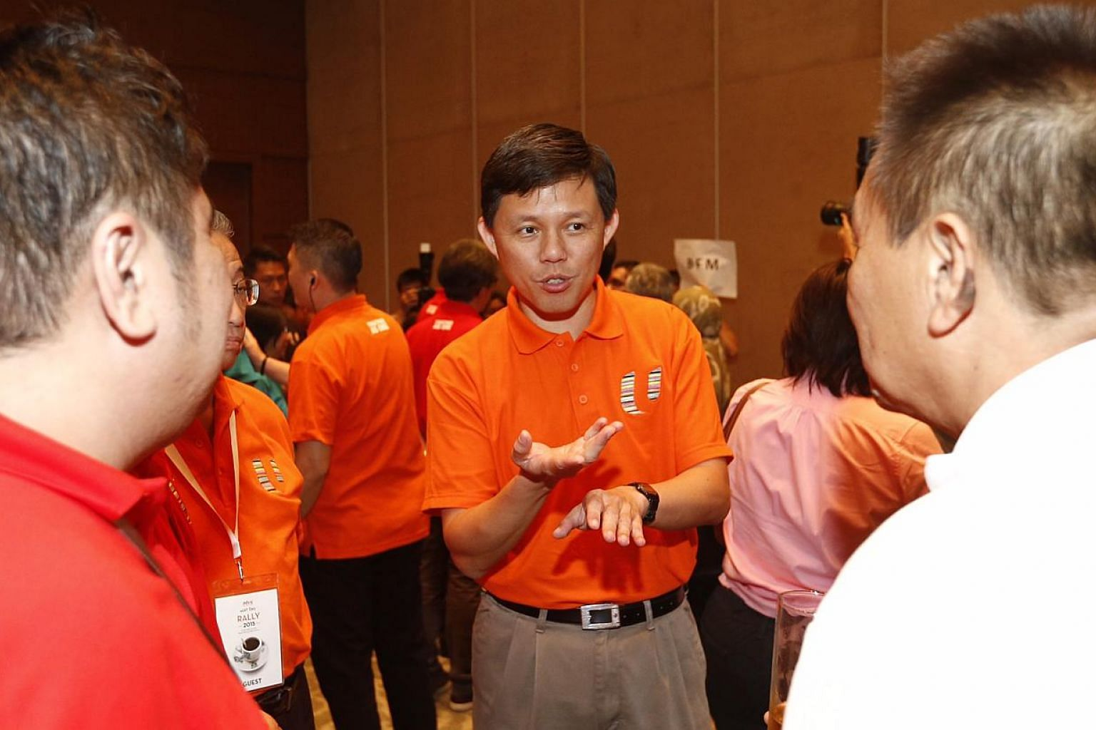 Mr Chan Chun Sing, who will be the new labour chief, mingling after the May Day celebration. -- ST PHOTO: KEVIN LIM