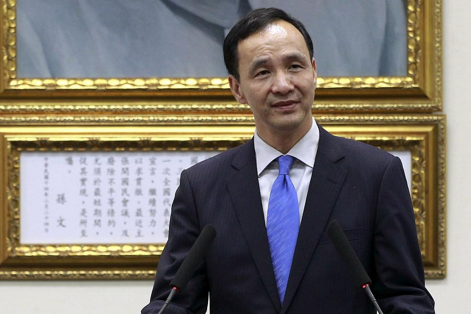 Eric Chu, chairman of Taiwan's ruling Nationalist Kuomintang Party (KMT), gives a speech during a news conference in Taipei, Taiwan on May 1, 2015. -- PHOTO: REUTERS