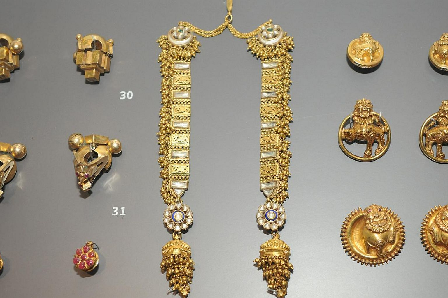 ARTEFACTS ON SHOW: Jewellery on display at the Indian Heritage Centre. -- ST PHOTO: TIFFANY GOH