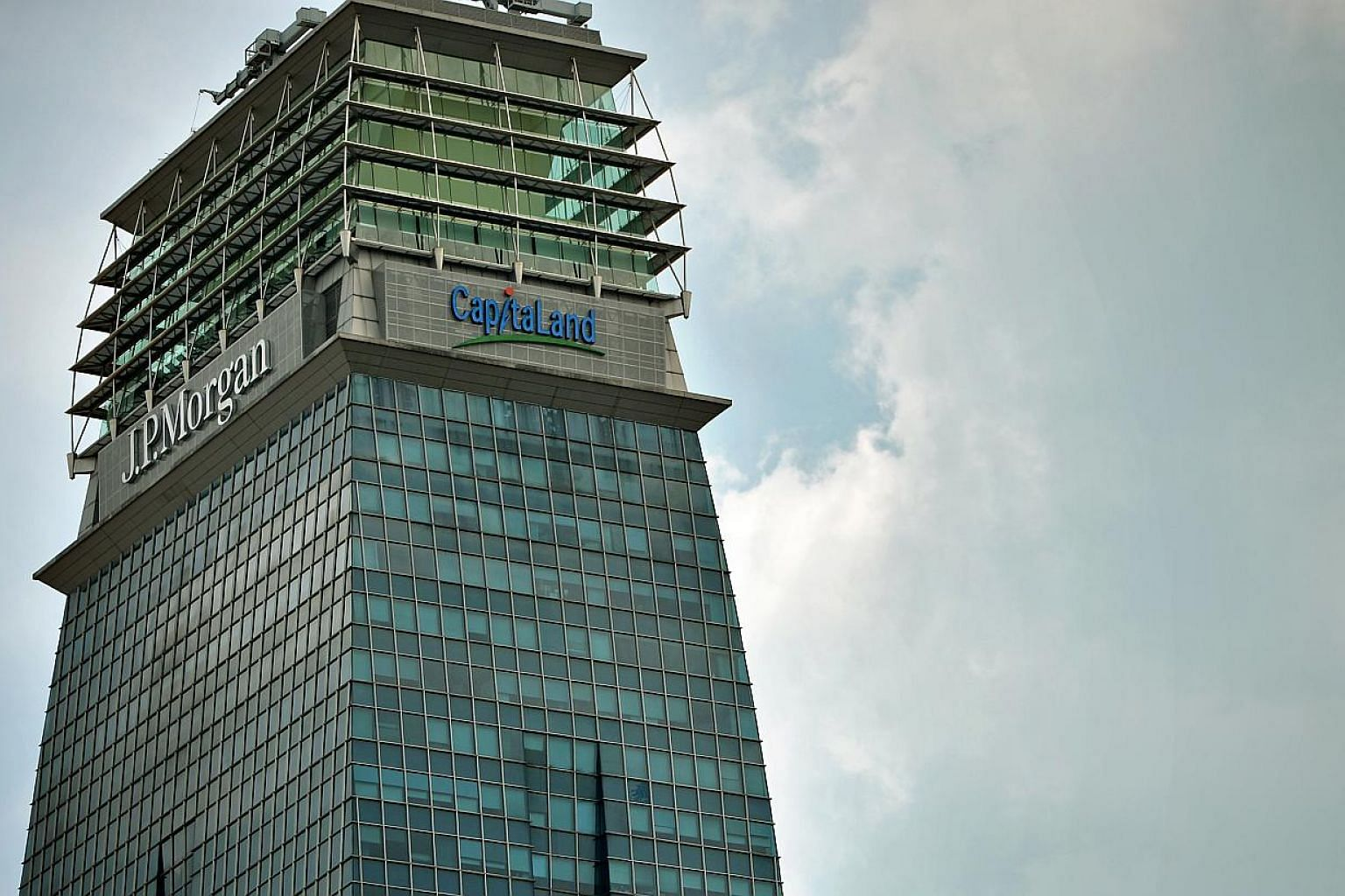 Capitaland building, together with the JP Morgan logo, located in the Central Business District. -- PHOTO: ST FILE