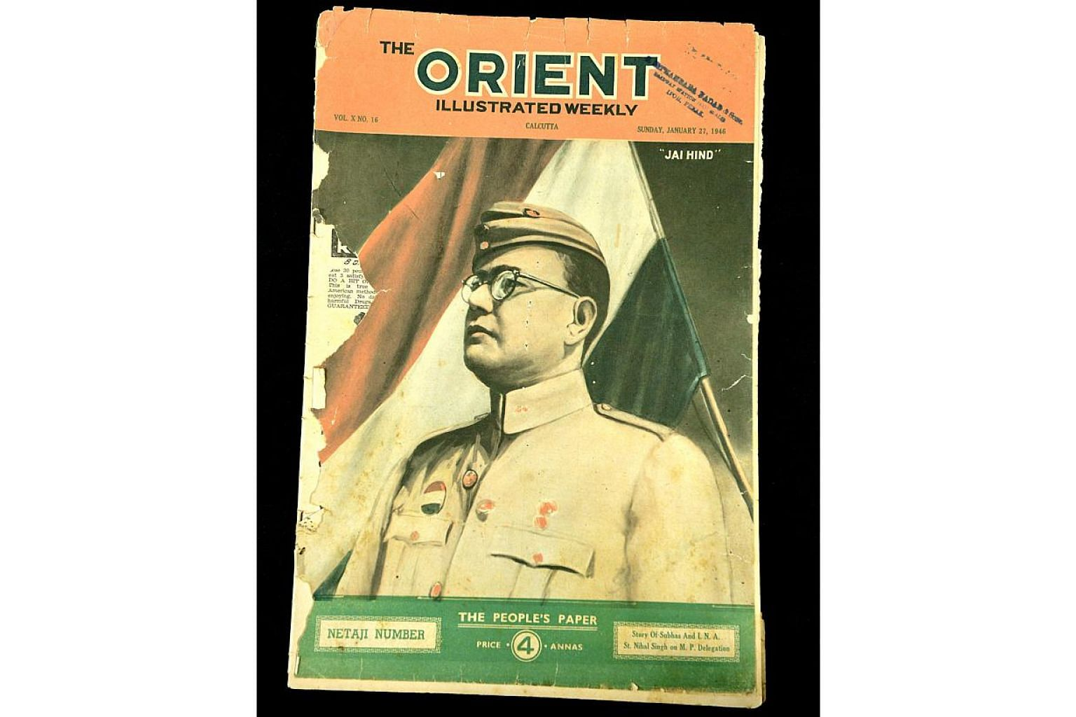 An issue of The Orient Weekly from January 1946 is among several war-time publications donated by Singapore's sixth president, Mr S R Nathan.  -- PHOTO: ST FILE
